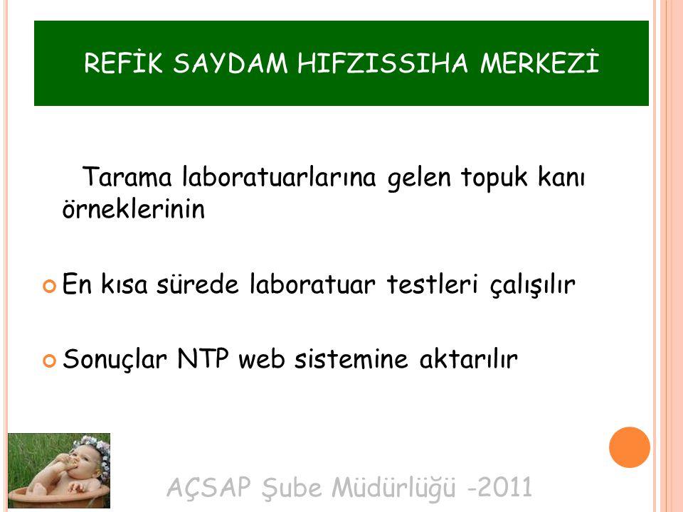 AÇSAP Şube Müdürlüğü -2011 REFİK SAYDAM HIFZISSIHA MERKEZİ Tarama laboratuarlarına gelen topuk kanı örneklerinin En kısa sürede laboratuar testleri çalışılır Sonuçlar NTP web sistemine aktarılır