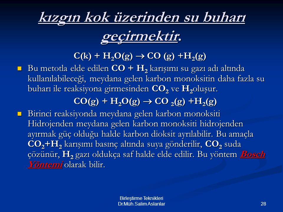 28 Birleştirme Teknikleri Dr.Müh.Salim Aslanlar kızgın kok üzerinden su buharı geçirmektir. C(k) + H 2 O(g)  CO (g) +H 2 (g) Bu metotla elde edilen C