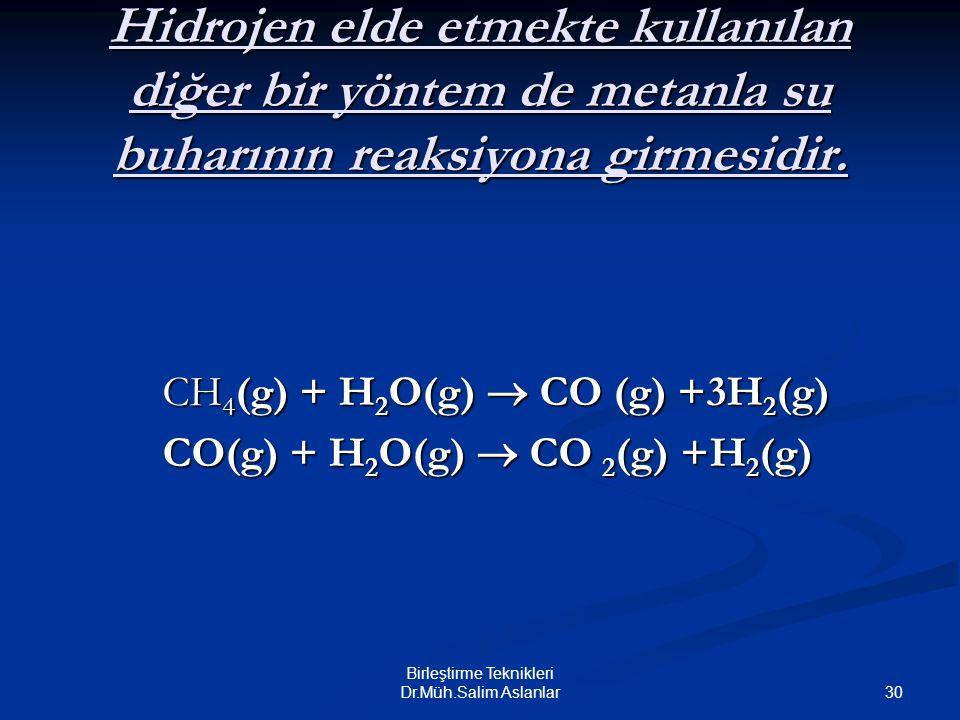 30 Birleştirme Teknikleri Dr.Müh.Salim Aslanlar Hidrojen elde etmekte kullanılan diğer bir yöntem de metanla su buharının reaksiyona girmesidir. CH 4