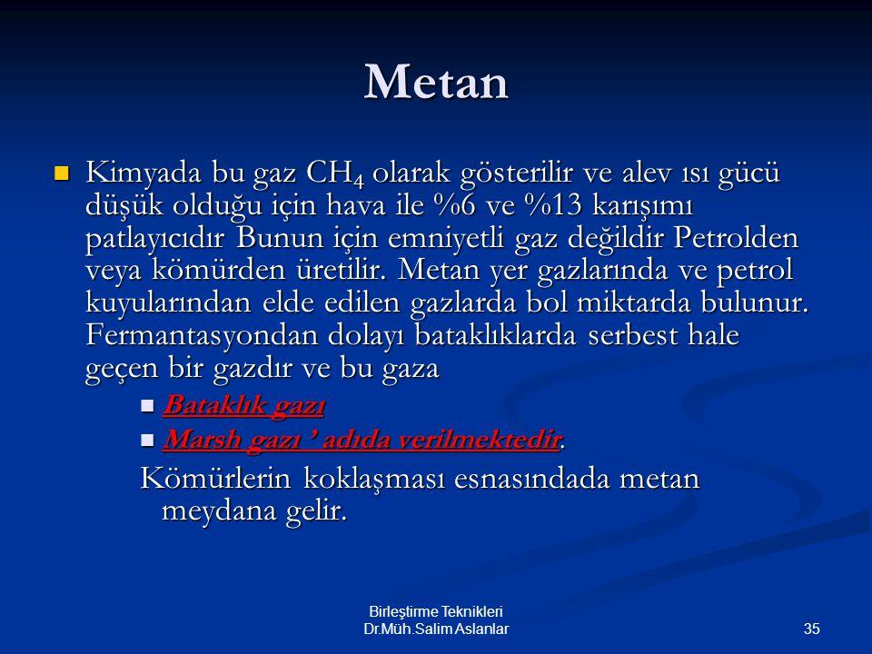 35 Birleştirme Teknikleri Dr.Müh.Salim Aslanlar Metan Kimyada bu gaz CH 4 olarak gösterilir ve alev ısı gücü düşük olduğu için hava ile %6 ve %13 karı