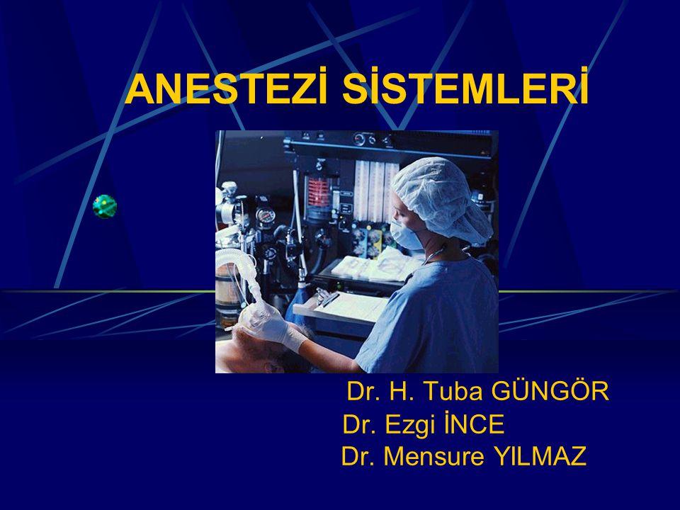 ANESTEZİ SİSTEMLERİ Dr. H. Tuba GÜNGÖR Dr. Ezgi İNCE Dr. Mensure YILMAZ