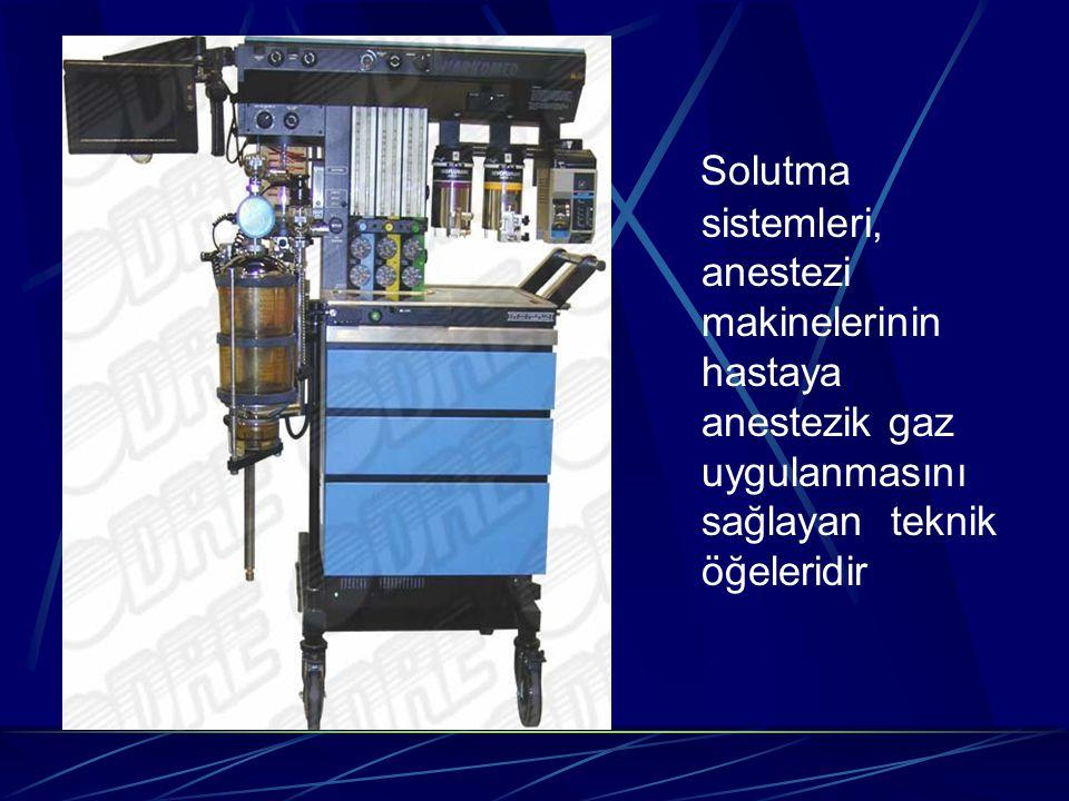 Solutma sistemleri  Farklı oranlarda taze ve ekspire edilen anestezik gazların bir araya getirilmesi ve hastaya ulaştırılması  Ekspire edilen CO2' nin uzaklaştırılması  Anestezik gazların ısı ve nem yönünden uygun iklim koşullarına getirilmesi ve ortam atmosferinden ayrı tutulması
