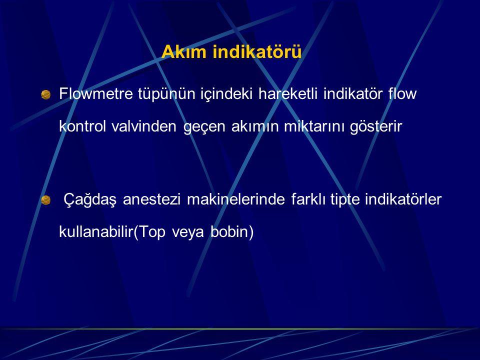 Akım indikatörü Flowmetre tüpünün içindeki hareketli indikatör flow kontrol valvinden geçen akımın miktarını gösterir Çağdaş anestezi makinelerinde farklı tipte indikatörler kullanabilir(Top veya bobin)