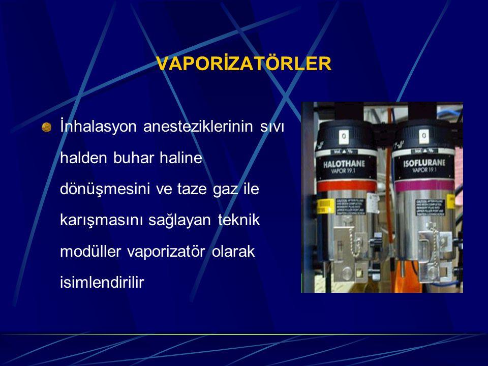 VAPORİZATÖRLER İnhalasyon anesteziklerinin sıvı halden buhar haline dönüşmesini ve taze gaz ile karışmasını sağlayan teknik modüller vaporizatör olarak isimlendirilir