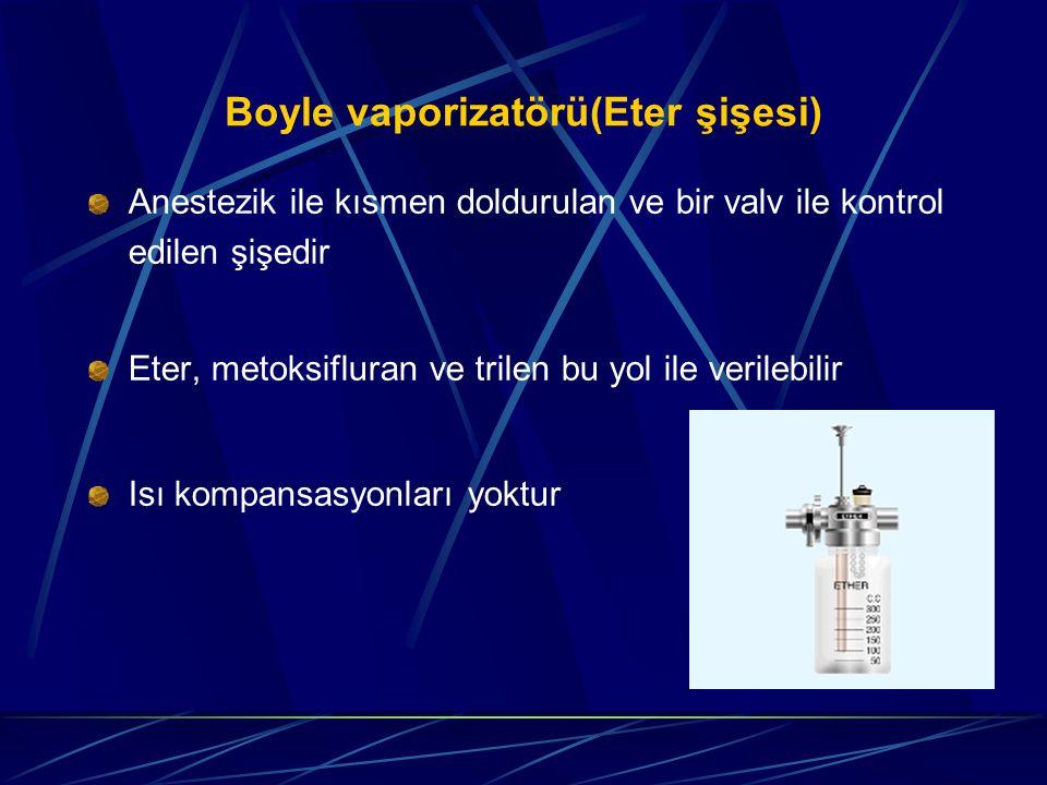 Boyle vaporizatörü(Eter şişesi) Anestezik ile kısmen doldurulan ve bir valv ile kontrol edilen şişedir Eter, metoksifluran ve trilen bu yol ile verilebilir Isı kompansasyonları yoktur