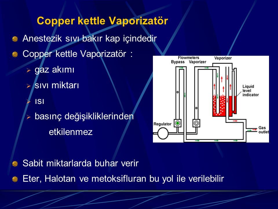 Copper kettle Vaporizatör Anestezik sıvı bakır kap içindedir Copper kettle Vaporizatör :  gaz akımı  sıvı miktarı  ısı  basınç değişikliklerinden etkilenmez Sabit miktarlarda buhar verir Eter, Halotan ve metoksifluran bu yol ile verilebilir