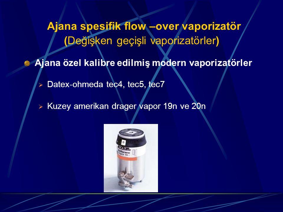 Ajana spesifik flow –over vaporizatör (Değişken geçişli vaporizatörler) Ajana özel kalibre edilmiş modern vaporizatörler  Datex-ohmeda tec4, tec5, tec7  Kuzey amerikan drager vapor 19n ve 20n