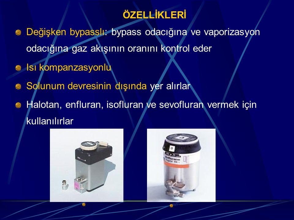 ÖZELLİKLERİ Değişken bypasslı: bypass odacığına ve vaporizasyon odacığına gaz akışının oranını kontrol eder Isı kompanzasyonlu Solunum devresinin dışında yer alırlar Halotan, enfluran, isofluran ve sevofluran vermek için kullanılırlar Tec 4 Drager 19 n