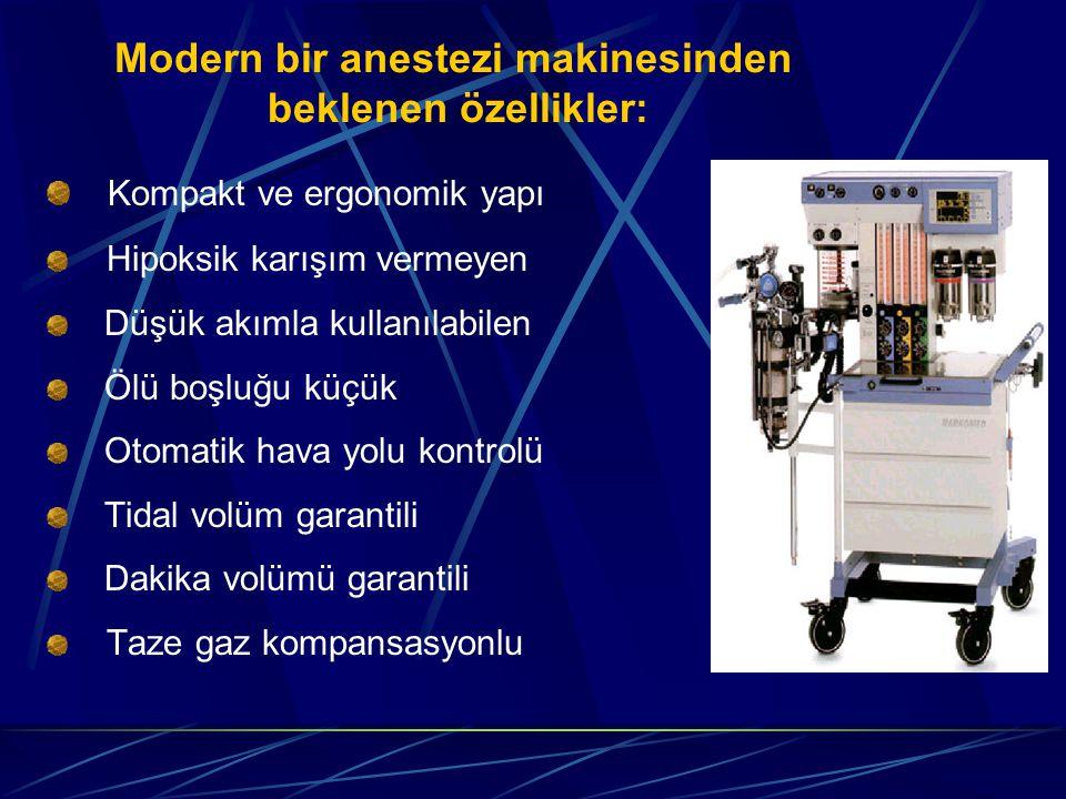 Modern bir anestezi makinesinden beklenen özellikler: Kompakt ve ergonomik yapı Hipoksik karışım vermeyen Düşük akımla kullanılabilen Ölü boşluğu küçük Otomatik hava yolu kontrolü Tidal volüm garantili Dakika volümü garantili Taze gaz kompansasyonlu
