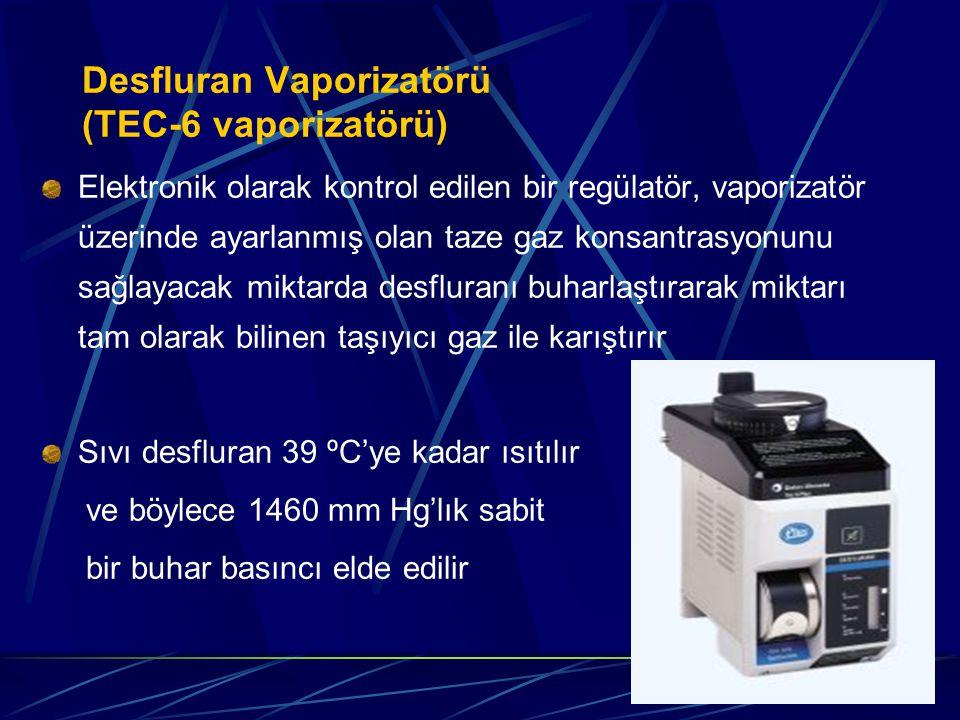 Desfluran Vaporizatörü (TEC-6 vaporizatörü) Elektronik olarak kontrol edilen bir regülatör, vaporizatör üzerinde ayarlanmış olan taze gaz konsantrasyonunu sağlayacak miktarda desfluranı buharlaştırarak miktarı tam olarak bilinen taşıyıcı gaz ile karıştırır Sıvı desfluran 39 ºC'ye kadar ısıtılır ve böylece 1460 mm Hg'lık sabit bir buhar basıncı elde edilir