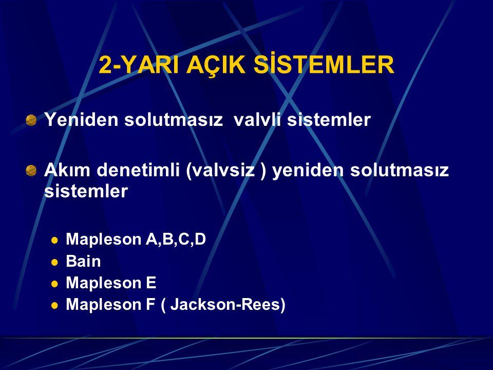 2-YARI AÇIK SİSTEMLER Yeniden solutmasız valvli sistemler Akım denetimli (valvsiz ) yeniden solutmasız sistemler Mapleson A,B,C,D Bain Mapleson E Mapleson F ( Jackson-Rees)
