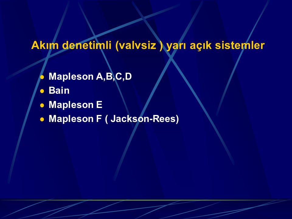 Akım denetimli (valvsiz ) yarı açık sistemler Mapleson A,B,C,D Bain Mapleson E Mapleson F ( Jackson-Rees)