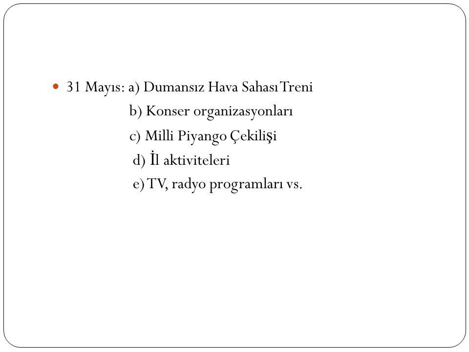 31 Mayıs: a) Dumansız Hava Sahası Treni b) Konser organizasyonları c) Milli Piyango Çekili ş i d) İ l aktiviteleri e) TV, radyo programları vs.