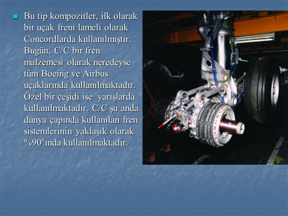 Karbon-Karbon Kompozitlerin Kullanım Alanları Karbon/Karbon kompozitleri esas olarak uçak frenlerinde kullanılmaktadır.
