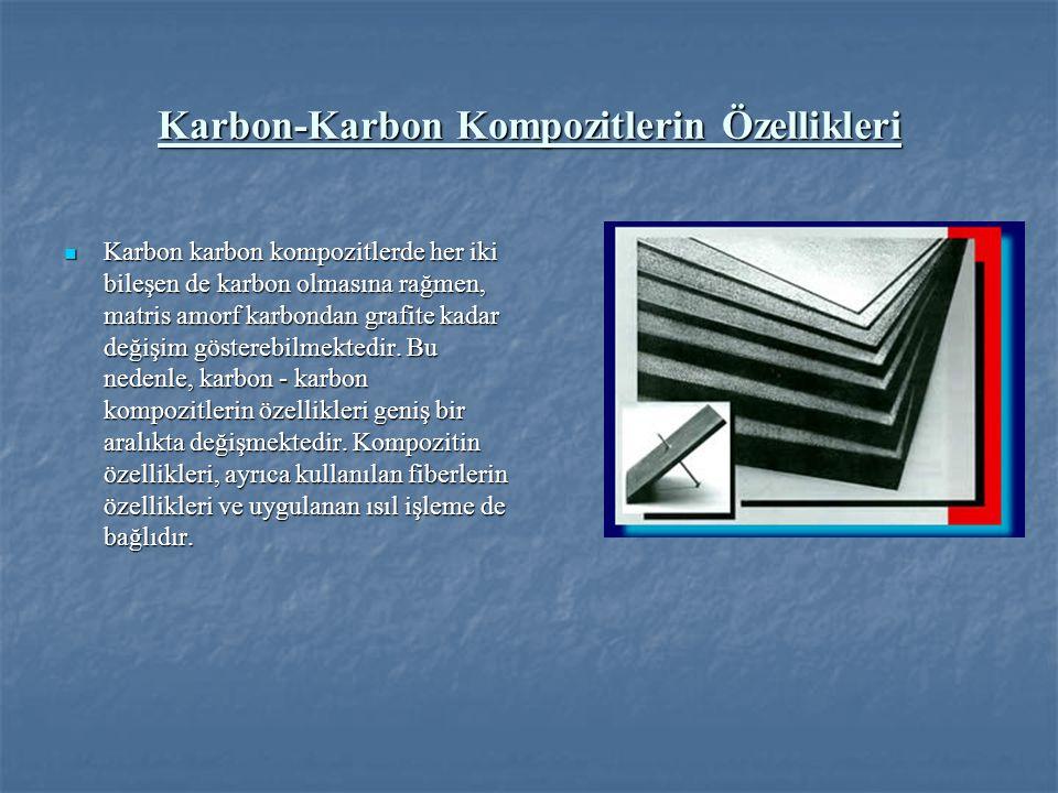 Karbon-Karbon Kompozitlerin Özellikleri Karbon karbon kompozitlerde her iki bileşen de karbon olmasına rağmen, matris amorf karbondan grafite kadar değişim gösterebilmektedir.