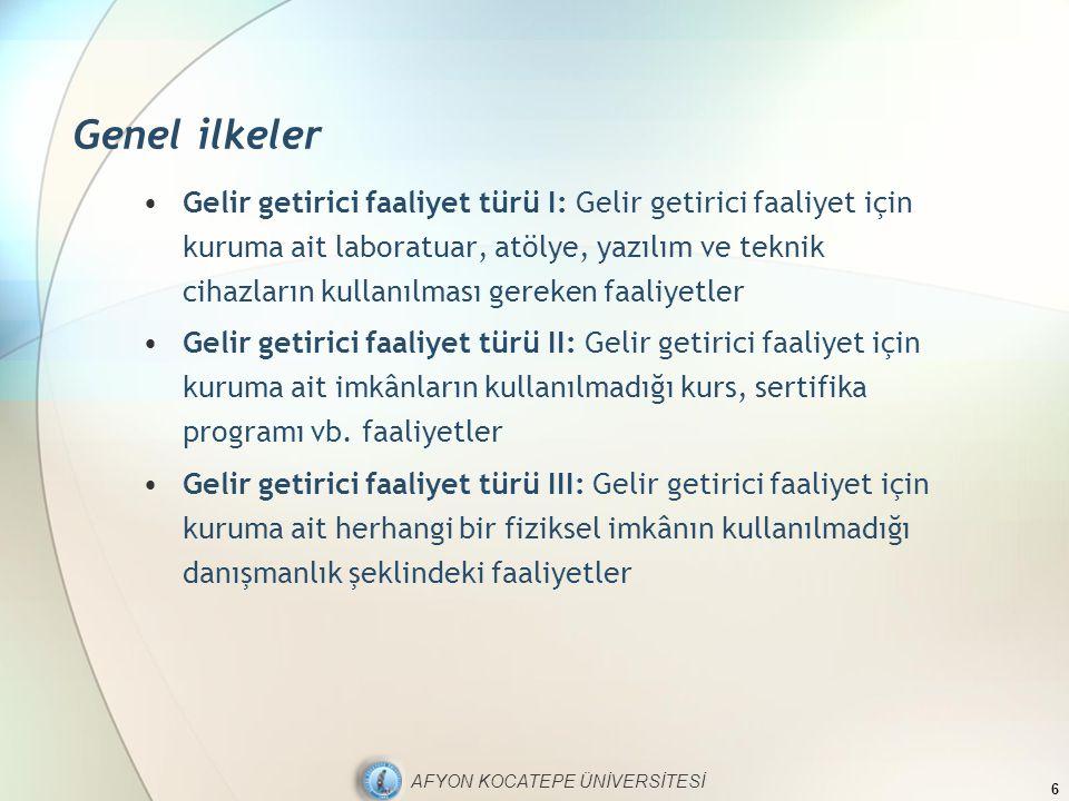 AFYON KOCATEPE ÜNİVERSİTESİ Genel ilkeler Gelir getirici faaliyet türü I: Gelir getirici faaliyet için kuruma ait laboratuar, atölye, yazılım ve tekni