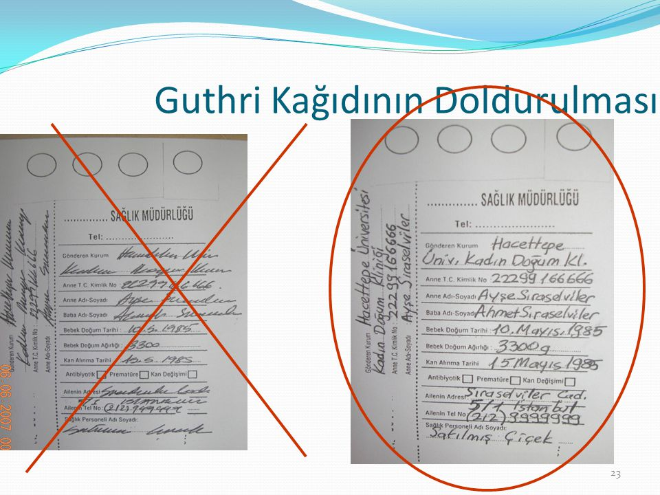 Guthri Kağıdının Doldurulması 23