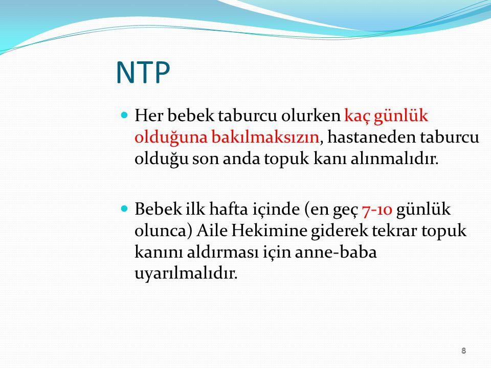 8 NTP Her bebek taburcu olurken kaç günlük olduğuna bakılmaksızın, hastaneden taburcu olduğu son anda topuk kanı alınmalıdır. Bebek ilk hafta içinde (