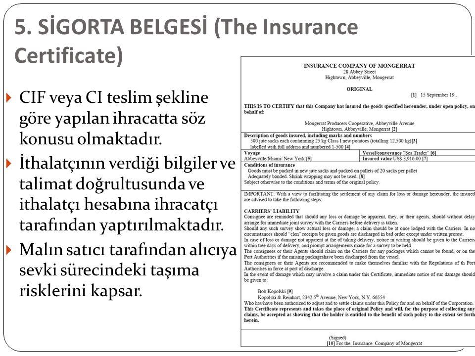 5. SİGORTA BELGESİ (The Insurance Certificate)  CIF veya CI teslim şekline göre yapılan ihracatta söz konusu olmaktadır.  İthalatçının verdiği bilgi
