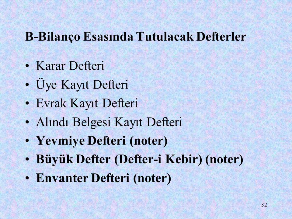 32 B-Bilanço Esasında Tutulacak Defterler Karar Defteri Üye Kayıt Defteri Evrak Kayıt Defteri Alındı Belgesi Kayıt Defteri Yevmiye Defteri (noter) Büy