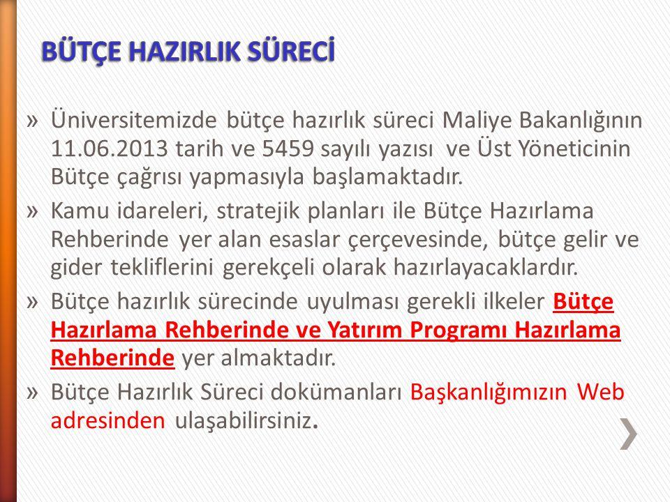 » Üniversitemizde bütçe hazırlık süreci Maliye Bakanlığının 11.06.2013 tarih ve 5459 sayılı yazısı ve Üst Yöneticinin Bütçe çağrısı yapmasıyla başlama