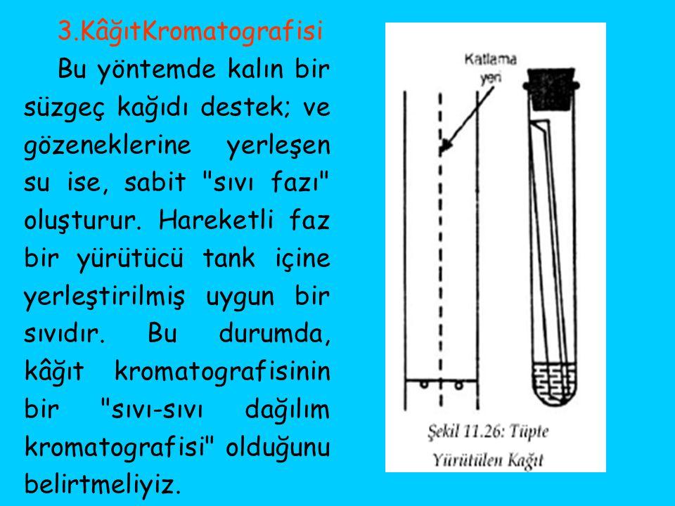 3.KâğıtKromatografisi Bu yöntemde kalın bir süzgeç kağıdı destek; ve gözeneklerine yerleşen su ise, sabit