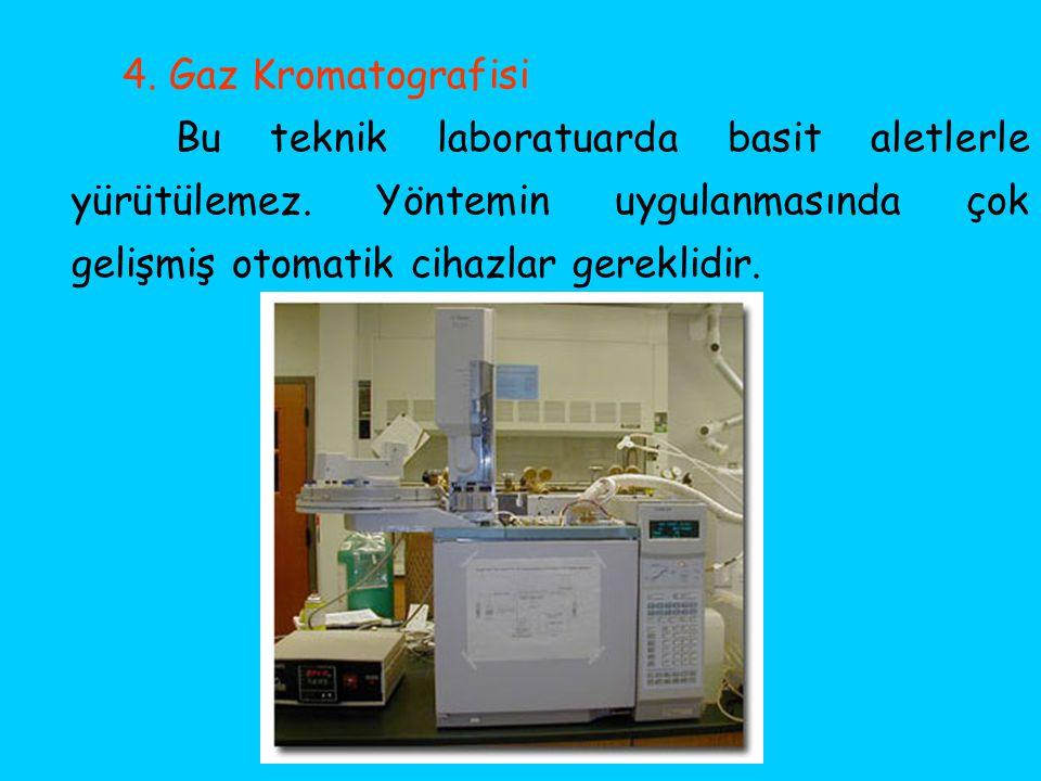 4. Gaz Kromatografisi Bu teknik laboratuarda basit aletlerle yürütülemez. Yöntemin uygulanmasında çok gelişmiş otomatik cihazlar gereklidir.