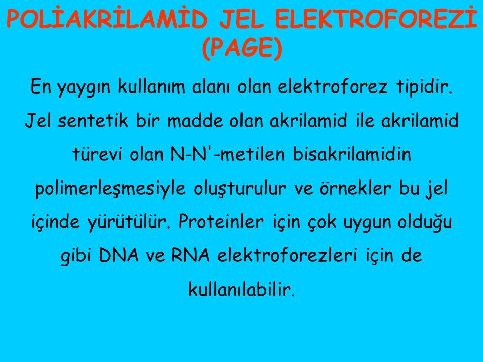 POLİAKRİLAMİD JEL ELEKTROFOREZİ (PAGE) En yaygın kullanım alanı olan elektroforez tipidir. Jel sentetik bir madde olan akrilamid ile akrilamid türevi