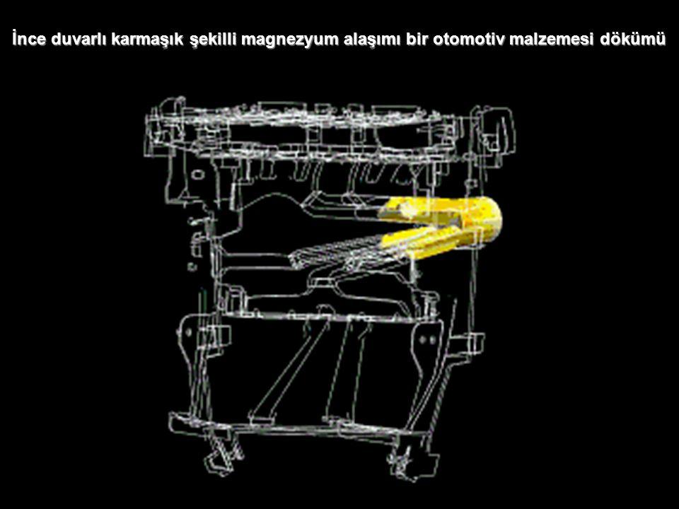 4 Silindirli motor bloğun basınçlı dökümünde sıvı metalin doldurulması ve gaz boşluğu oluşma ihtimali Gaz boşluğu oluşma ihtimali olan bölge