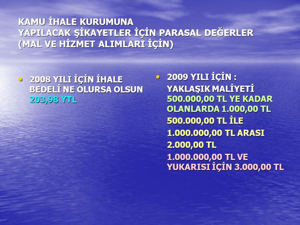 KAMU İHALE KURUMUNA YAPILACAK ŞİKAYETLER İÇİN PARASAL DEĞERLER (MAL VE HİZMET ALIMLARI İÇİN) 2008 YILI İÇİN İHALE BEDELİ NE OLURSA OLSUN 203,98 YTL 20