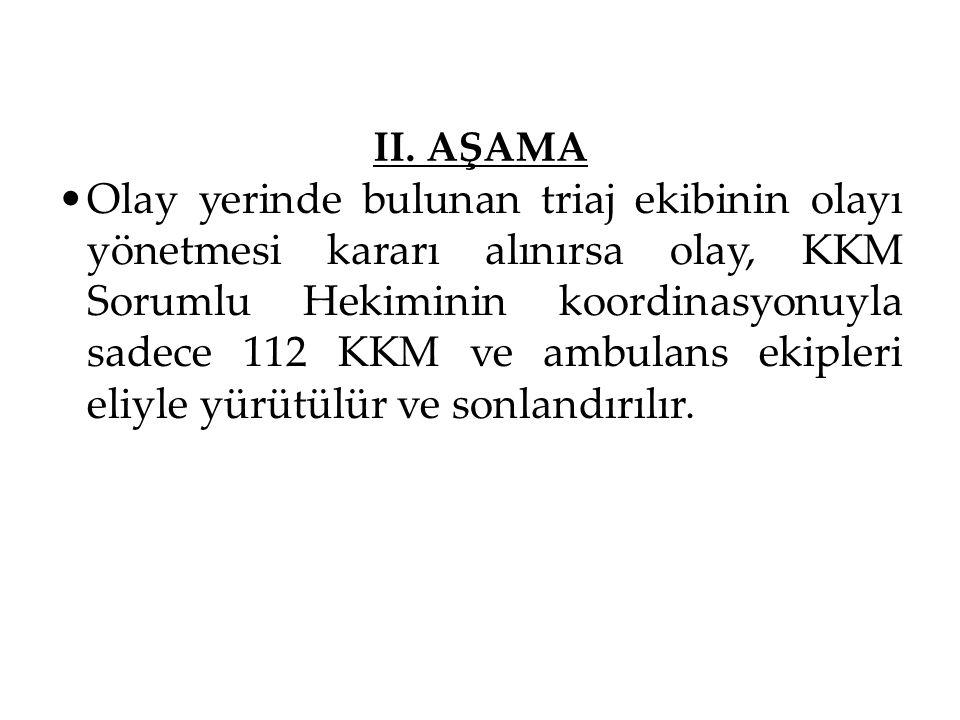 II. AŞAMA Olay yerinde bulunan triaj ekibinin olayı yönetmesi kararı alınırsa olay, KKM Sorumlu Hekiminin koordinasyonuyla sadece 112 KKM ve ambulans