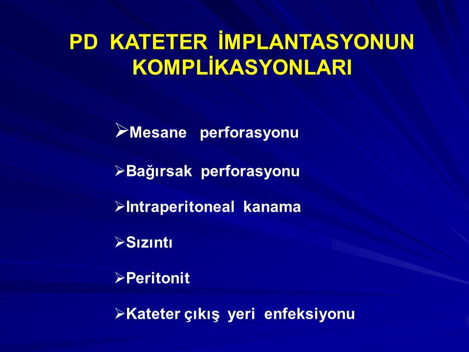 Bir kronik periton kateterinin laporoskopik inplantasyonu için gereken başlıca malzemeler