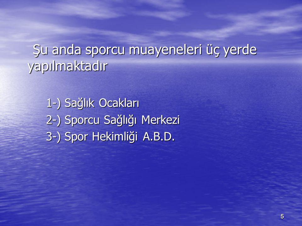 6 1.Tüm sağlık ocakları 2. Adana sporcu sağlığı merkez 3.