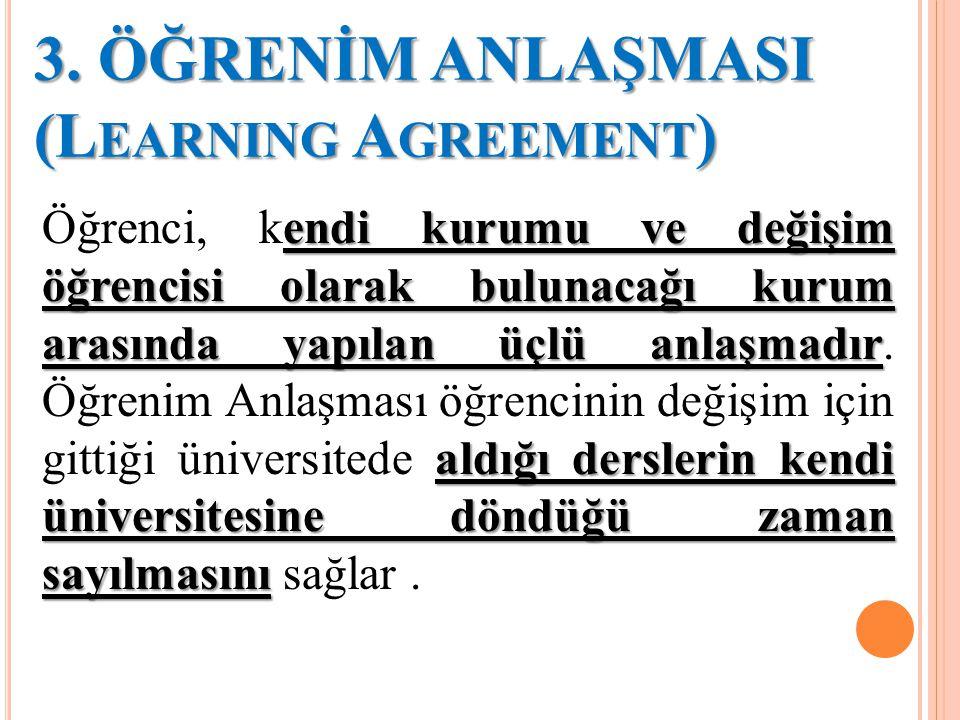 3. ÖĞRENİM ANLAŞMASI (L EARNING A GREEMENT ) endi kurumu ve değişim öğrencisi olarak bulunacağı kurum arasında yapılan üçlü anlaşmadır aldığı dersleri