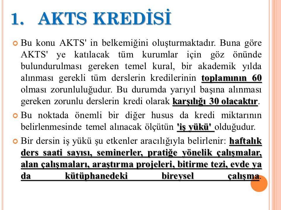 1.AKTS KREDİSİ 1.AKTS KREDİSİ toplamının 60 karşılığı 30 olacaktır Bu konu AKTS' in belkemiğini oluşturmaktadır. Buna göre AKTS' ye katılacak tüm kuru