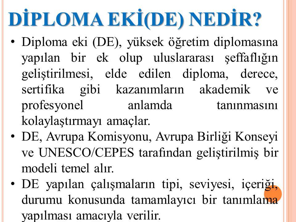 DİPLOMA EKİ(DE) NEDİR? Diploma eki (DE), yüksek öğretim diplomasına yapılan bir ek olup uluslararası şeffaflığın geliştirilmesi, elde edilen diploma,