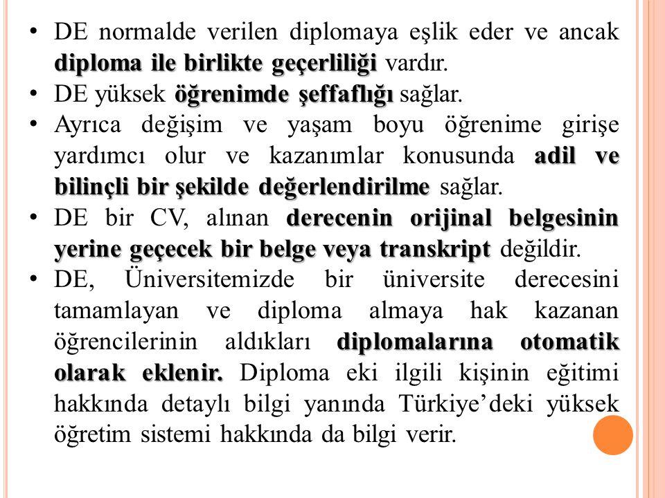 diploma ile birlikte geçerliliği DE normalde verilen diplomaya eşlik eder ve ancak diploma ile birlikte geçerliliği vardır. öğrenimde şeffaflığı DE yü