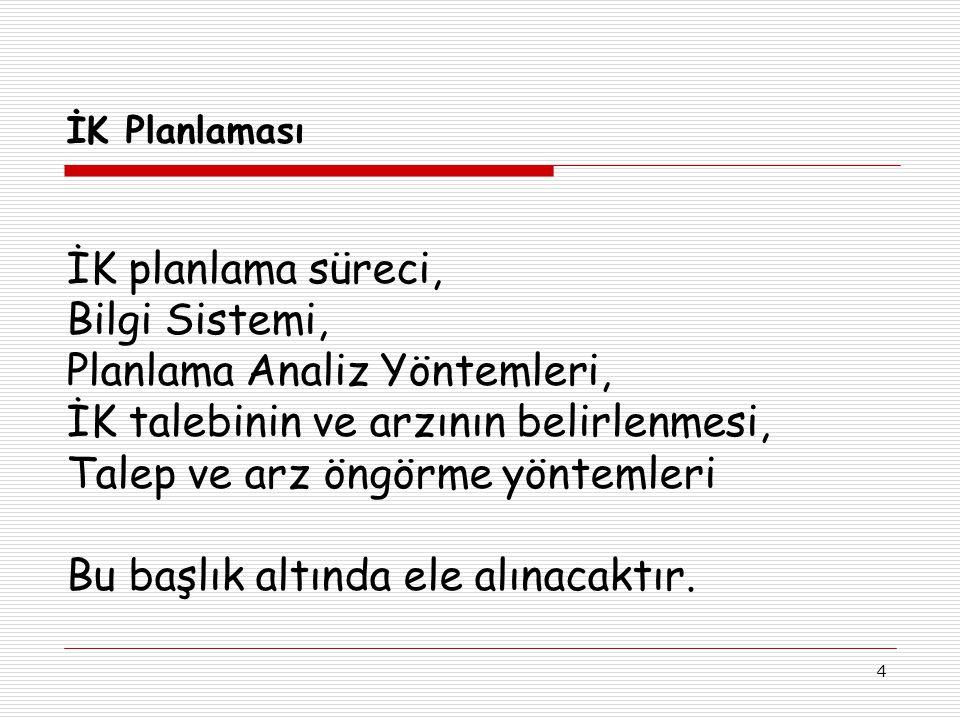 4 İK Planlaması İK planlama süreci, Bilgi Sistemi, Planlama Analiz Yöntemleri, İK talebinin ve arzının belirlenmesi, Talep ve arz öngörme yöntemleri B