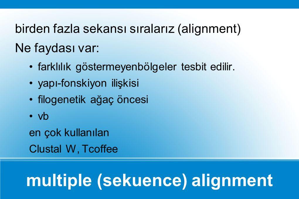 multiple (sekuence) alignment birden fazla sekansı sıralarız (alignment) Ne faydası var: farklılık göstermeyenbölgeler tesbit edilir. yapı-fonskiyon i