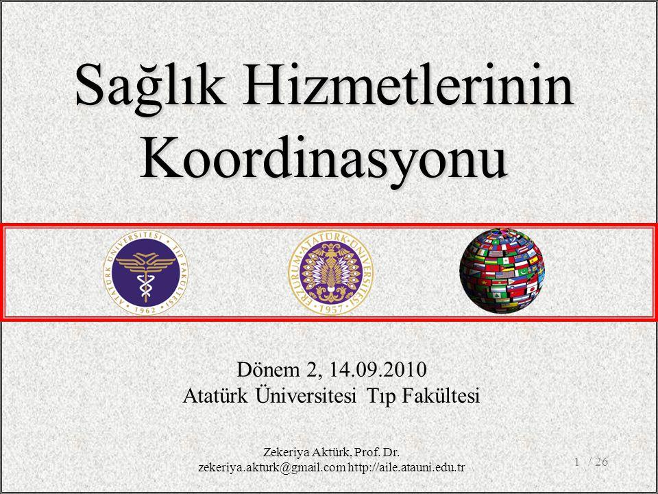 / 261 Dönem 2, 14.09.2010 Atatürk Üniversitesi Tıp Fakültesi Sağlık Hizmetlerinin Koordinasyonu Zekeriya Aktürk, Prof.