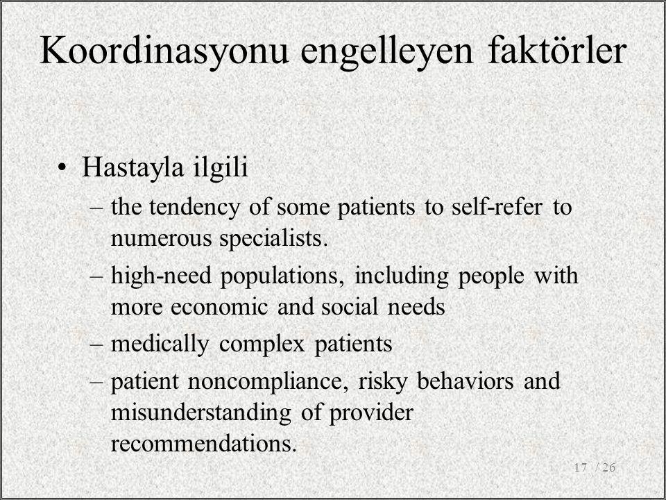 Koordinasyonu engelleyen faktörler Hastayla ilgili –the tendency of some patients to self-refer to numerous specialists. –high-need populations, inclu