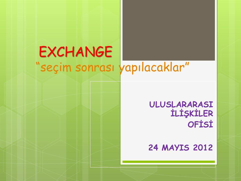 """EXCHANGE EXCHANGE """"seçim sonrası yapılacaklar"""" ULUSLARARASI İLİŞKİLER OFİSİ 24 MAYIS 2012"""