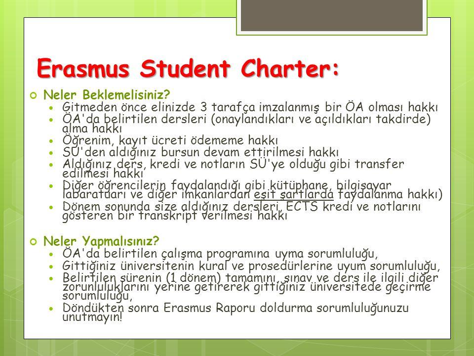 Erasmus Student Charter: Neler Beklemelisiniz? Gitmeden önce elinizde 3 tarafça imzalanmış bir ÖA olması hakkı ÖA'da belirtilen dersleri (onaylandıkla