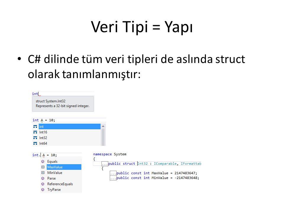 Veri Tipi = Yapı C# dilinde tüm veri tipleri de aslında struct olarak tanımlanmıştır: