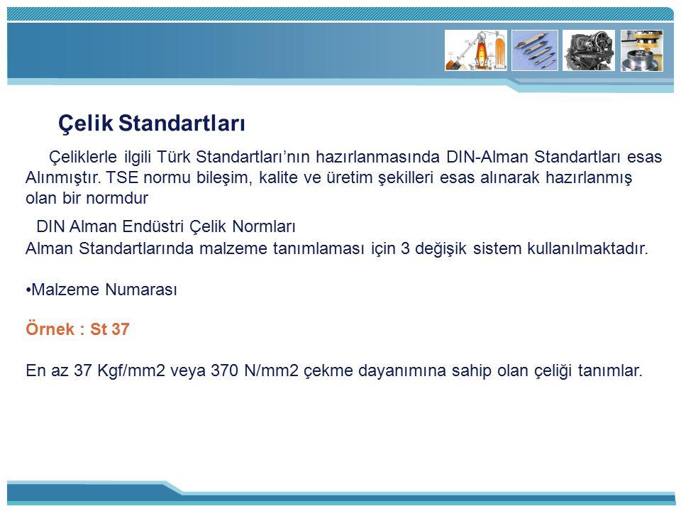 Çelik Standartları Çeliklerle ilgili Türk Standartları'nın hazırlanmasında DIN-Alman Standartları esas Alınmıştır. TSE normu bileşim, kalite ve üretim