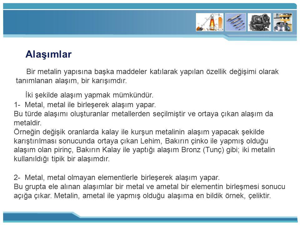 Alaşımlar Bir metalin yapısına başka maddeler katılarak yapılan özellik değişimi olarak tanımlanan alaşım, bir karışımdır. İki şekilde alaşım yapmak m