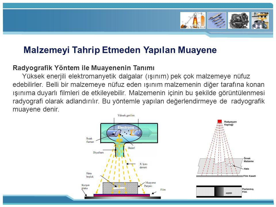 Malzemeyi Tahrip Etmeden Yapılan Muayene Radyografik Yöntem ile Muayenenin Tanımı Yüksek enerjili elektromanyetik dalgalar (ışınım) pek çok malzemeye