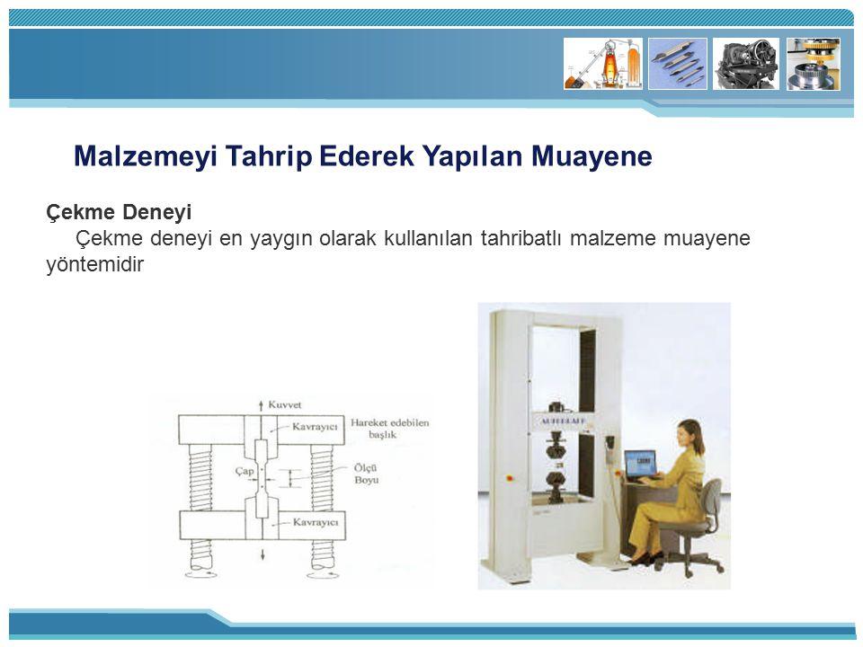Malzemeyi Tahrip Ederek Yapılan Muayene Çekme Deneyi Çekme deneyi en yaygın olarak kullanılan tahribatlı malzeme muayene yöntemidir