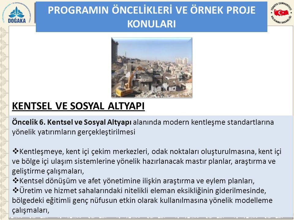 PROGRAMIN ÖNCELİKLERİ VE ÖRNEK PROJE KONULARI Öncelik 6.