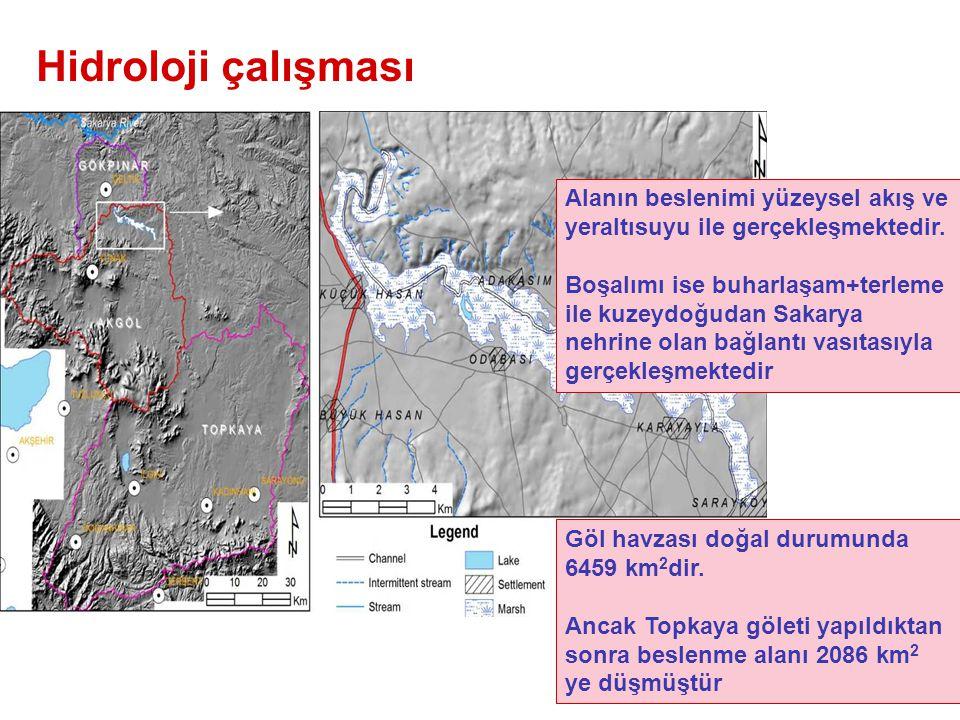 Hidroloji çalışması Alanın beslenimi yüzeysel akış ve yeraltısuyu ile gerçekleşmektedir.